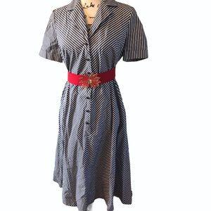 Anne Klein striped retro vintage vibes dress
